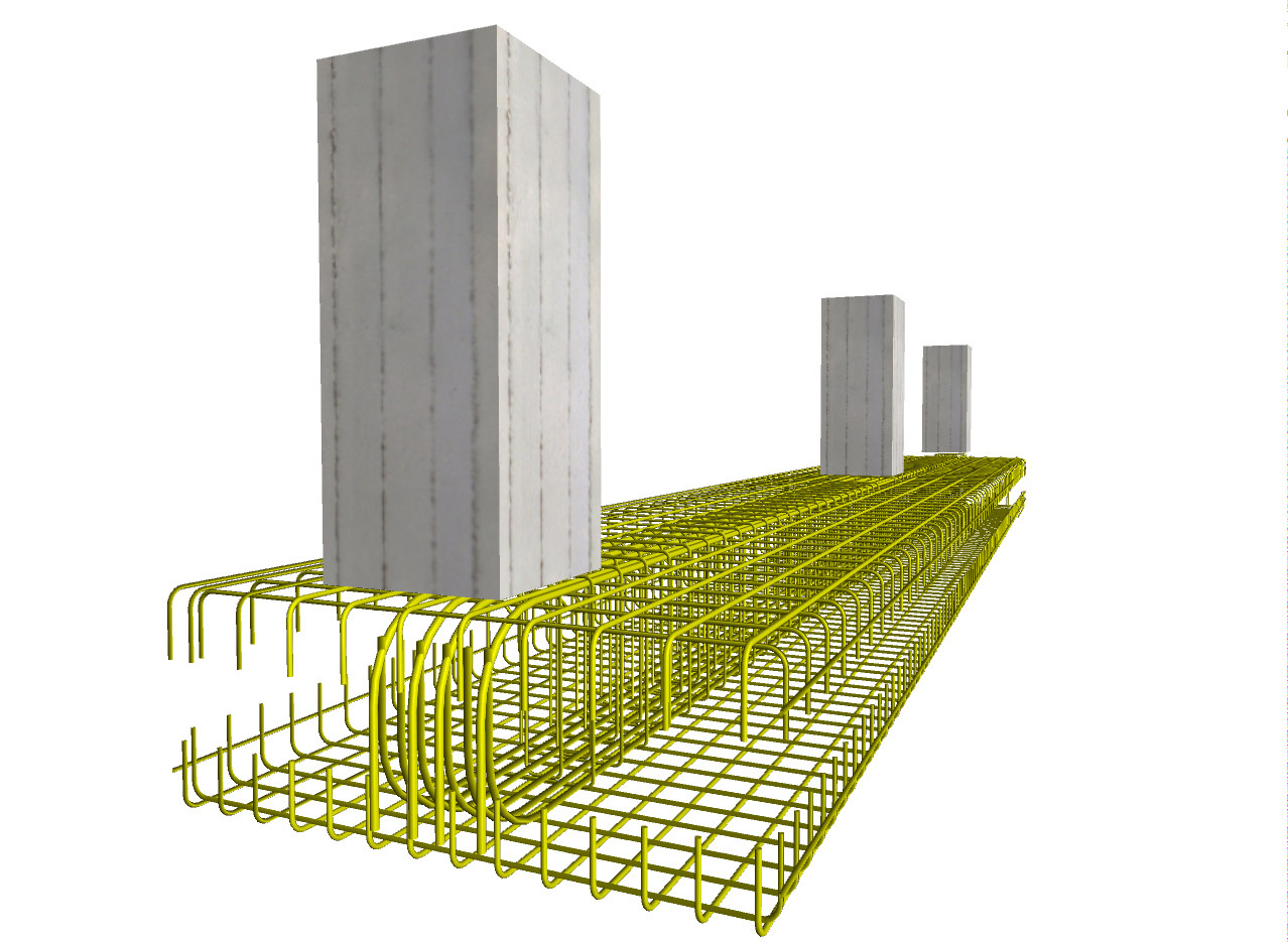 Reinforcement of an orthogonal strip foundation